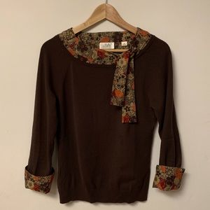 Sweater with built in blouse